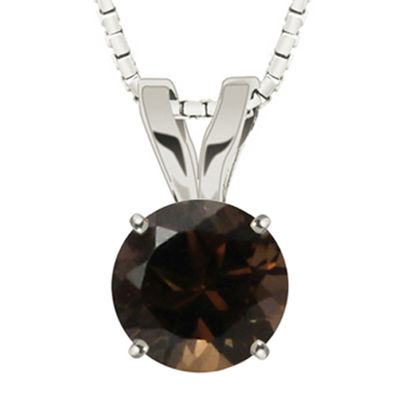 Round Genuine Smoky Quartz 10K White Gold Pendant Necklace