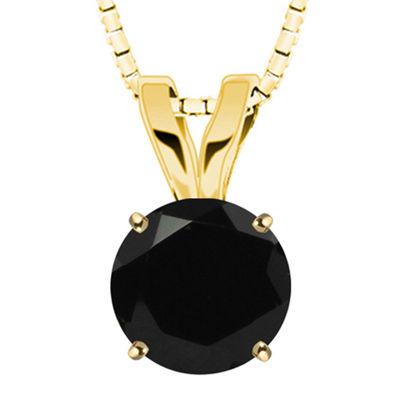 Round Genuine Black Onyx 10K Yellow Gold Pendant Necklace
