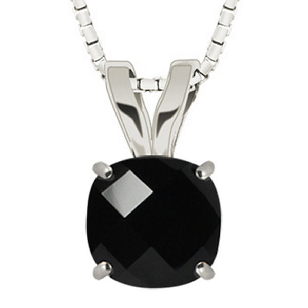 Genuine Black Onyx 10K White Gold Pendant