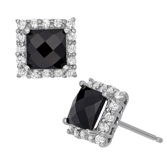 Genuine Black Onyx & Lab-Created White Sapphire Sterling Silver Earrings