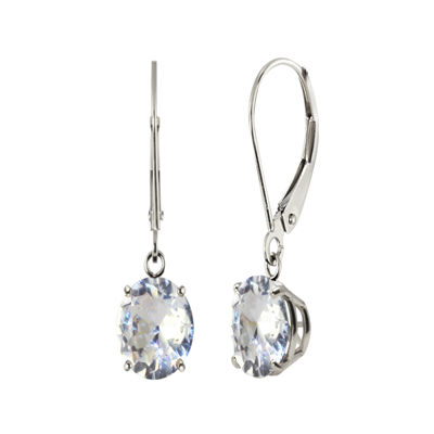 Round Lab-Created White Sapphire Sterling Silver Earrings