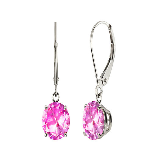 Round Lab Created Pink Sapphire 10k White Gold Earrings