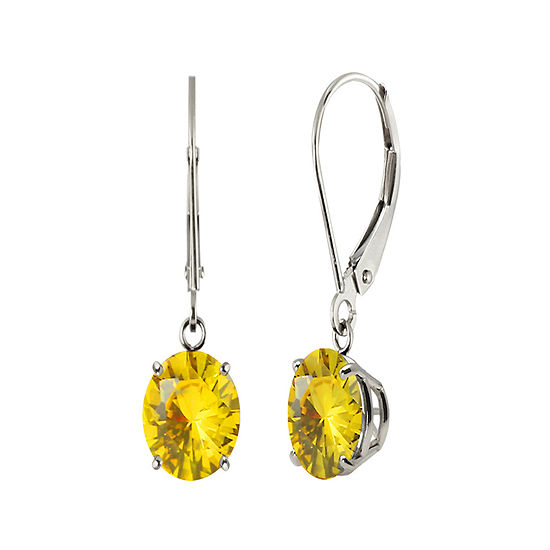 Round Lab-Created Yellow Sapphire 10K White Gold Earrings