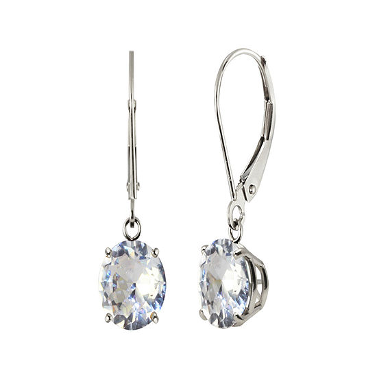 Round Lab-Created White Sapphire 10K White Gold Earrings