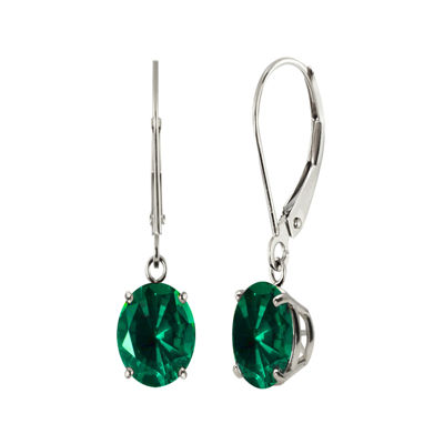 Round Lab-Created Emerald Sterling Silver Earrings