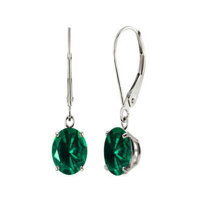 Round Lab-Created Emerald 10K White Gold Earrings