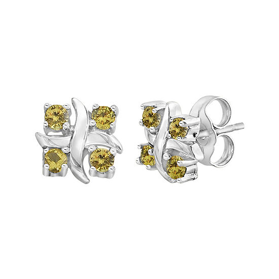 Lab-Created Yellow Sapphire Sterling Silver Earrings