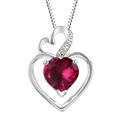 Lab-Created Ruby Sterling Silver Pendant