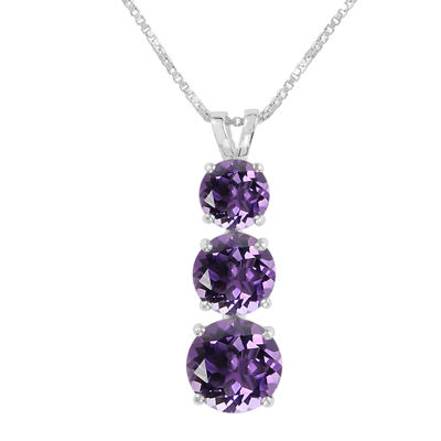 Round Genuine Amethyst Sterling Silver Pendant