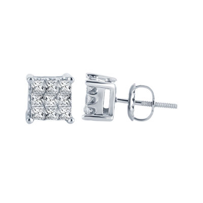 ½ CT. T.W. Princess Diamond Stud Earrings