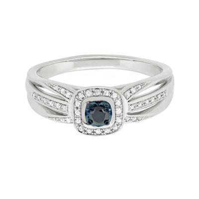 Sterling Silver Genuine Blue Center Diamond with White Diamond Split Shank Ring