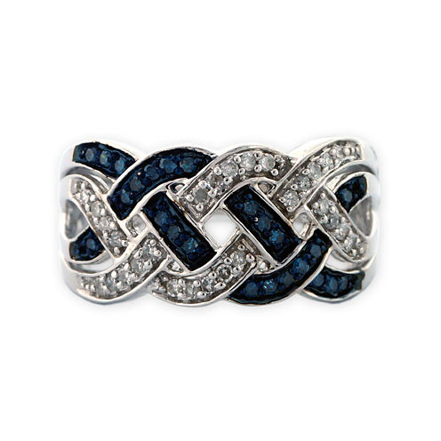 Sterling Silver Blue and White Diamond Braid Ring