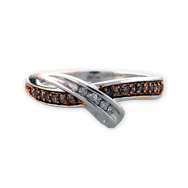 Sterling Silver Brown and White Diamond Bypass Ring