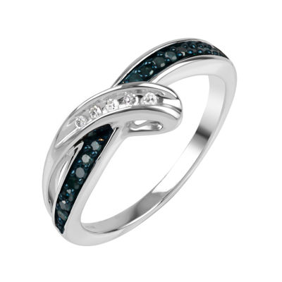 Sterling Silver Blue and White Diamond Bypass Ring