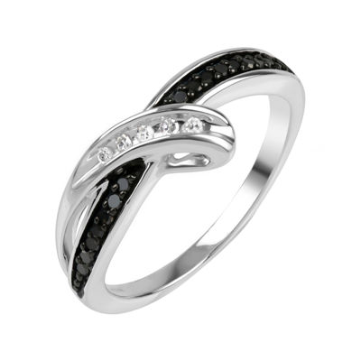 Sterling Silver Black and White Diamond Bypass Ring