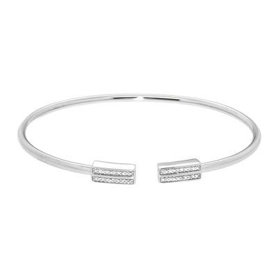 Diamond In Sterling Silver Bangle Bracelet
