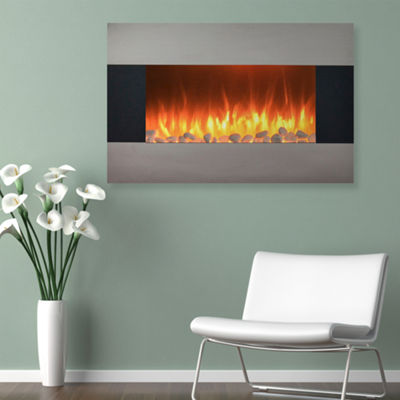 "35"" Stainless Steel Wall Mount Electric Fireplace"