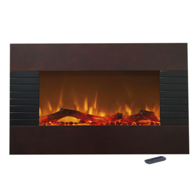"35"" Mohagany Finish Wall Mount Electric Fireplace"