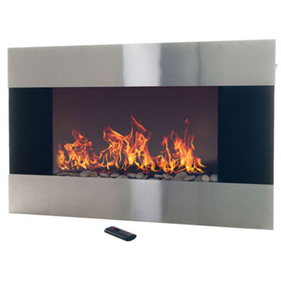 "36"" Stainless Steel Wall Mount Electric Fireplace"