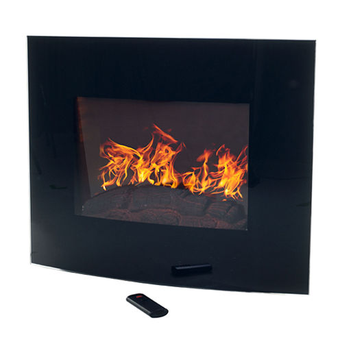 """25"""" Curved Electric Wall Mount With Floor Stand Fireplace"""