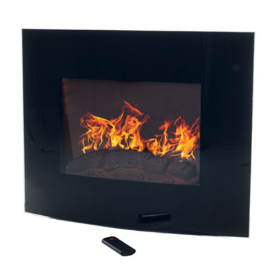 "25"" Curved Electric Wall Mount With Floor Stand Fireplace"