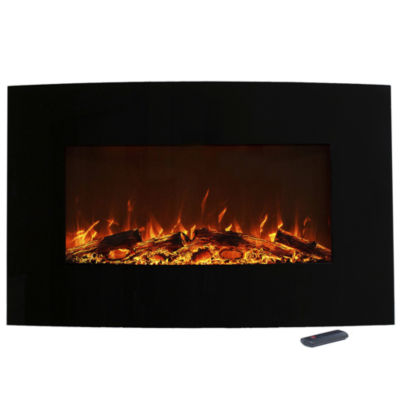 "36"" Color Changing Wall Mount With Floor Stand Electric Fireplace"