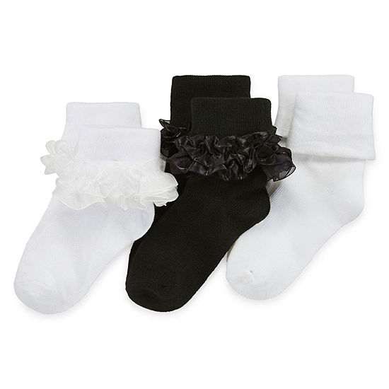 Jacques Moret Toddler Girls 3 Pair Turncuff Socks
