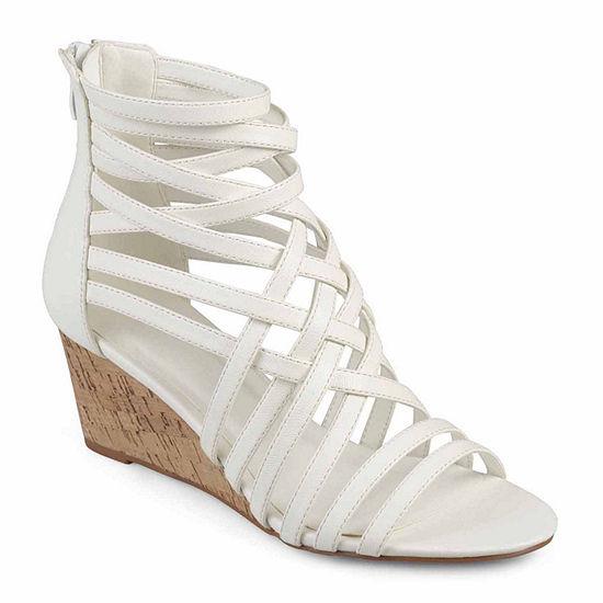Journee Collection Womens Twyla Pumps Open Toe Wedge Heel