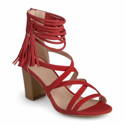 Journee Collection Womens Ruthie Pumps Zip Open Toe Stacked Heel