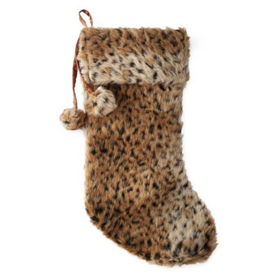 North Pole Trading Co. Fur Faux-Leopard Christmas Stocking
