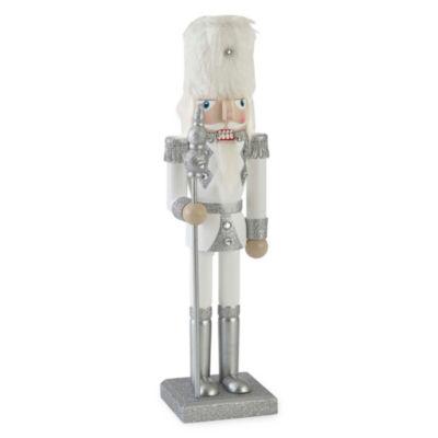 """North Pole Trading Co. 14"""" Silver Glitter Nutcracker"""