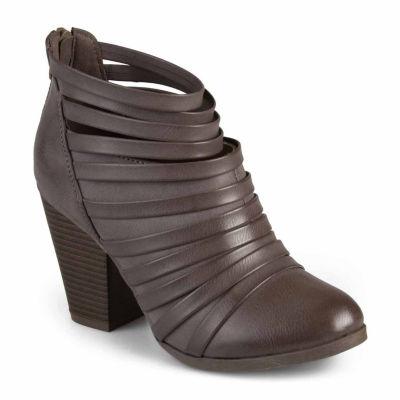 Journee Collection Womens Arial Booties Stacked Heel Zip