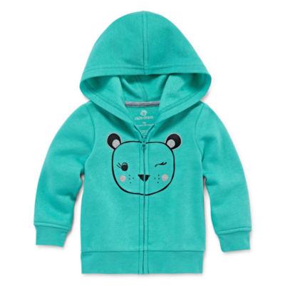Okie Dokie Full Zip Hooded Fleece-Baby Girl NB-24M