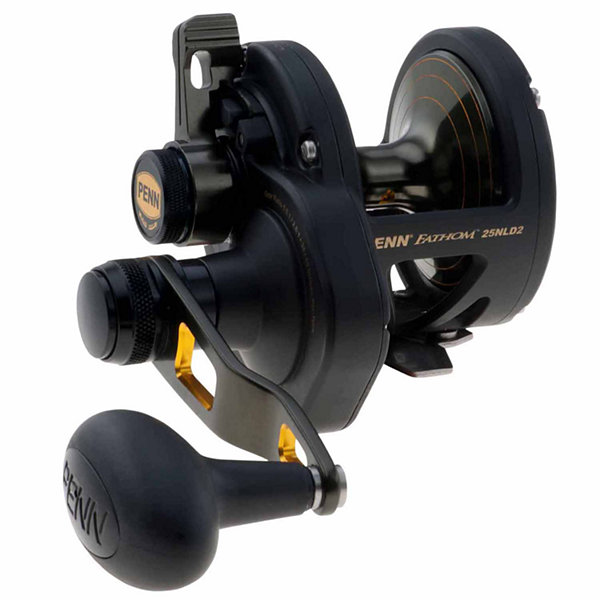 "Penn Fathom Lever Drag 2 Speed Conventional Reel 25N Size 5.5:1/2.7:1 Gear Ratio 38""/19"" Retrieve Rate 33 lbs Max Drag RH"""