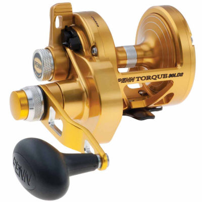 "Penn Torque Lever Drag 2 Speed Conventional Reel 30 5.5:1/2.8:1 Gear Ratio 38""/19"" Line Retrieve 6 Bearings Right Hand"""
