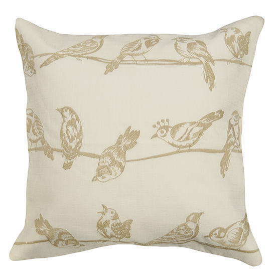 Birds On Wire Square Throw Pillow