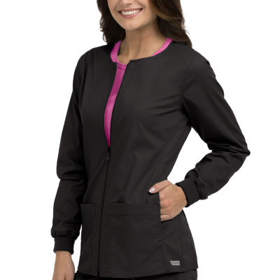 Med Couture 8687 In-Seam Zip Front Warm Up Scrub Jacket - Plus