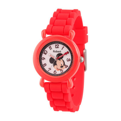 Disney Mickey Mouse Boys Red Strap Watch-Wds000737