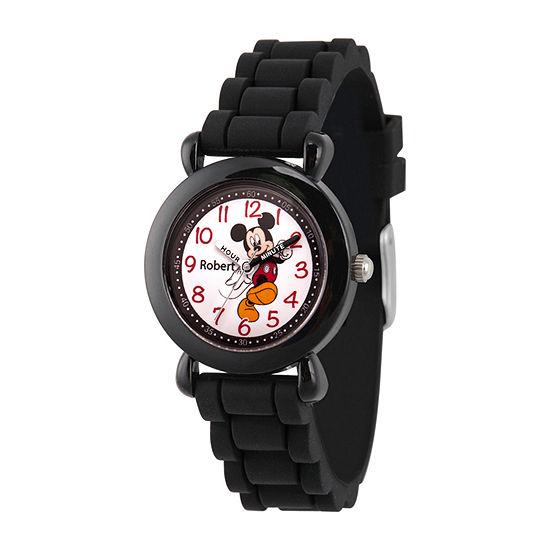 Disney Mickey Mouse Boys Black Strap Watch-Wds000738