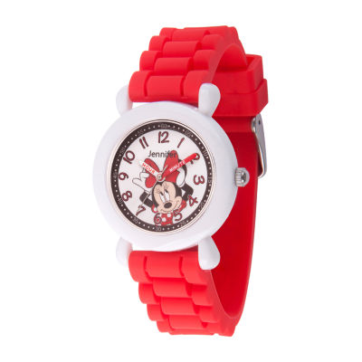Disney Minnie Mouse Girls Red Strap Watch-Wds000739