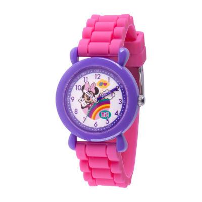 Disney Minnie Mouse Girls Pink Strap Watch-Wds000741