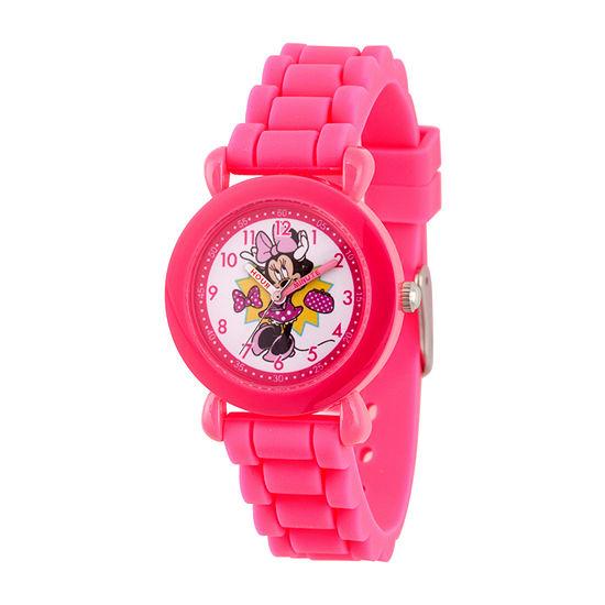 Disney Minnie Mouse Girls Pink Strap Watch-Wds000742