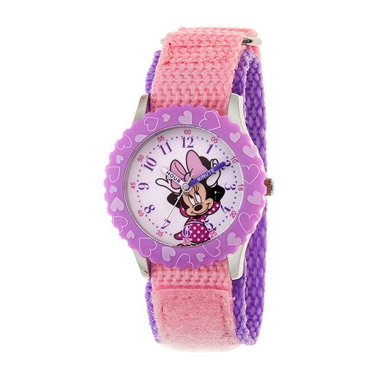 Disney Minnie Mouse Girls Pink Strap Watch-Wds000744