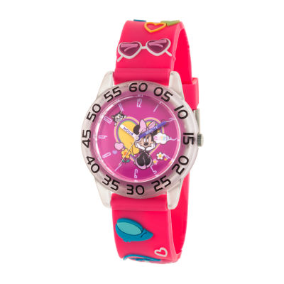 Disney Minnie Mouse Girls Pink Strap Watch-Wds000747