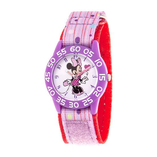 Disney Minnie Mouse Girls Purple Strap Watch-Wds000748