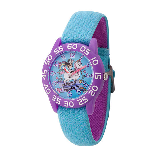 Disney Minnie Mouse Girls Blue Strap Watch-Wds000752
