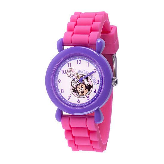 Disney Minnie Mouse Girls Pink Strap Watch-Wds000753