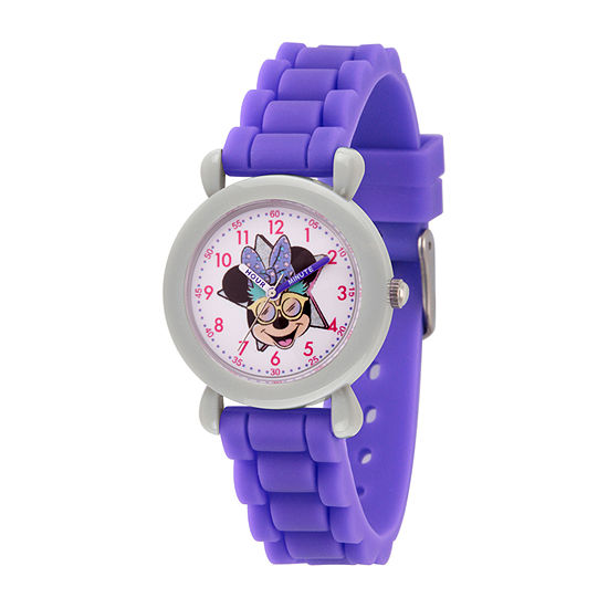 Disney Minnie Mouse Girls Purple Strap Watch-Wds000754