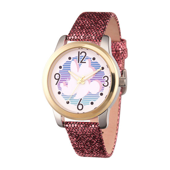 Disney Minnie Mouse Womens Purple Leather Strap Watch-Wds000755
