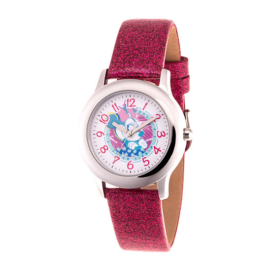 Disney Minnie Mouse Girls Pink Leather Strap Watch-Wds000756